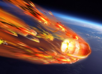 An artist's impression of a satellite re-entry.