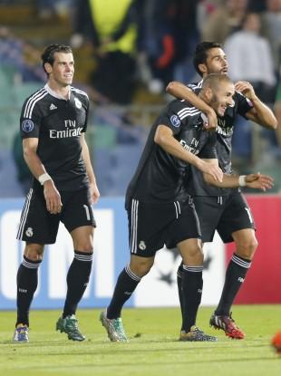 Real Madrid trio Gareth Bale, Karim Benzema and Alvaro Arbeloa.