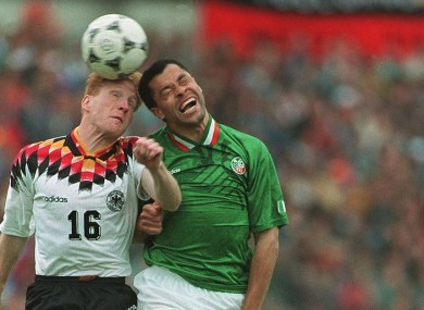 Paul McGrath battles Matthias Sammer on what proved a glorious day for the Republic of Ireland.