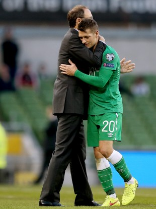 Ireland's manager Martin O'Neill and Wesley Hoolahan after he was substituted.