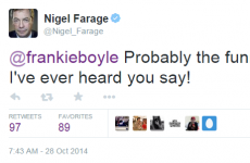 Frankie Boyle and Nigel Farage are having a war of words on Twitter