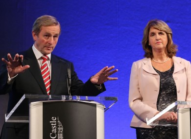 Enda Kenny and Joan Burton at today's press conference.