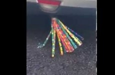 This is what happens when you attach a bunch of party whistles to a car exhaust