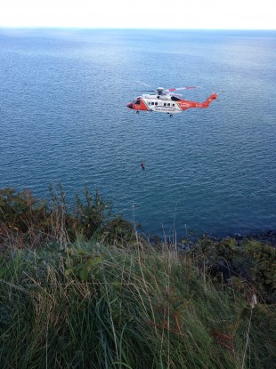 The scene of the air rescue in Bray today.