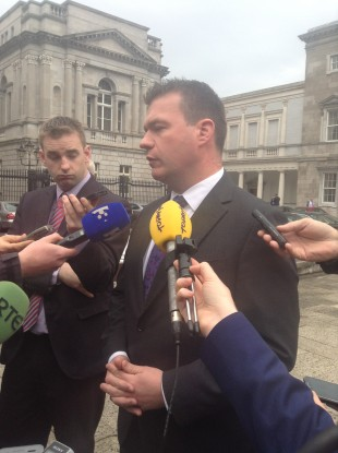 Minister for the Environment Alan Kelly speaking to the media outside Leinster House today.