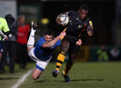 Rob Kearney tackling Christian Wade on Leinster's last visit to Wasps... in Adams Park.