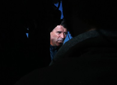 Assistant manager Roy Keane speaks to the media after training.