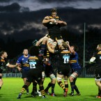 Wasps' Sam Jones wins a lineout during the Pool two European Rugby Champions Cup match at the RDS Arena, Dublin.<span class=