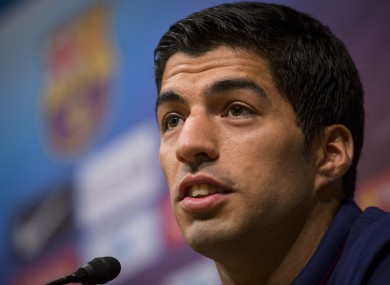 Barcelona's Luis Suarez pictured during a press conference