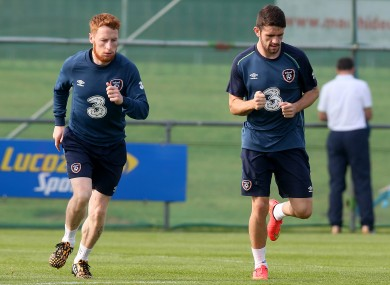 Quinn and Brady (right) training together.