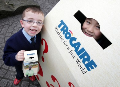 Children from first class in Our Lady Queen of Apostles National School, Clondalkin, Cian Murphy (6), left, and Taiki Yoshino Fennell (7)launching the national competition for primary schools to design the Trocaire box in 2012.