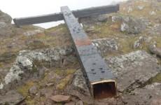 The 5-metre tall steel cross on Carrauntoohil has been cut down