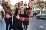 Realistic-looking dead foxes used to confront shoppers on issue of fur farming