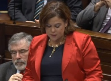 Mary Lou McDonald speaking in the Dáil this evening.