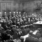A general view of the War Crimes trial in Nuremberg, Germany<span class=