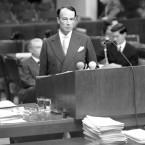British Attorney General Hartley William Shawcross presents his final plea.<span class=