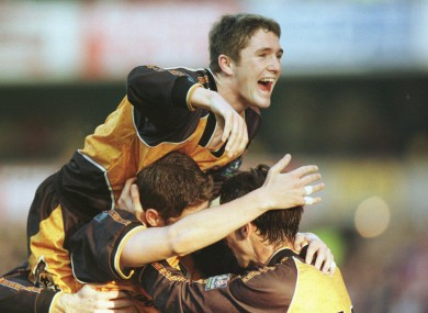 A young Robbie Keane celebrates with Wolves team-mates
