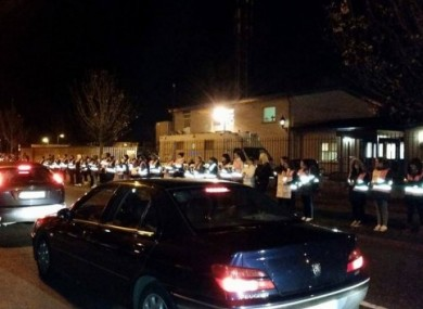 The scene outside Coolock Garda Station on Tuesday night