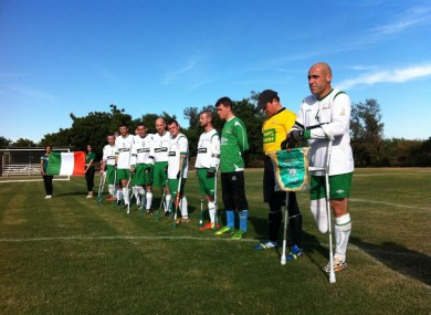 The Irish team lineup for the national anthem.