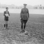 A British general is about to kick off a friendly football match between the British and Italian troops on the Italian front.<span class=