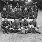 The football team of the British Third Army Trench Mortar School in France.<span class=