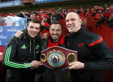 Peter O'Mahony and Paul O'Connell watched the match with Andy Lee.