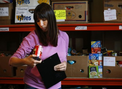 A volunteer at a foodbank in south London.