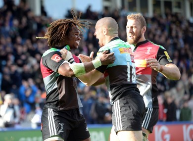 Yarde, left, celebrates a try with Brown at the Stoop (file photo).