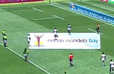 US sevens player gets tackled by pitch invader, but gets revenge with a massive toe-bog