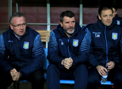 Paul Lambert on the bench with then assistant Roy Keane.