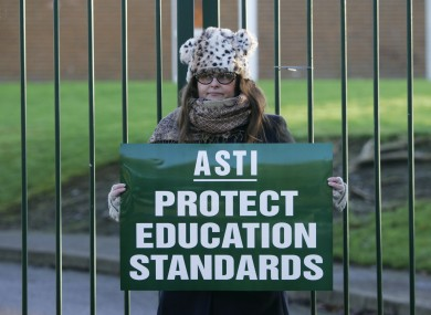 Stacy Kenny of St Kevin's College,Ballygall Road, on strike last month.