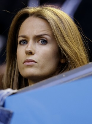 Kim Sears, fiancee of Andy Murray of Britain watches his semi-final against Tomas Berdych.