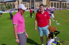 Rory McIlroy tries to teach BOD a 'rugby style' golf trick shot