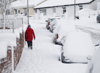 Snowfall causes disruption in the village of Claudy, Northern Ireland.