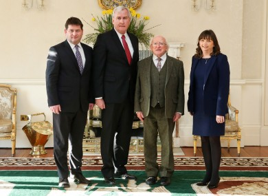 Left - Right: Minister Dara Murphy, Kevin Vickers, President Higgins, Jackie Ellis, General Relations Officer at the Embassy