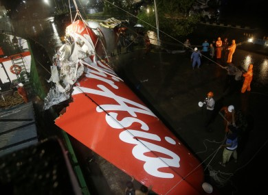 wreckage of part of the ill-fated AirAsia Flight 8501.