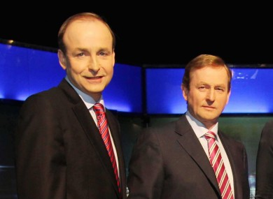 Micheál Martin and Enda Kenny at a Prime Time debate before the last general election