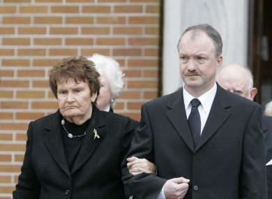Sean Haughey with his mother Maureen at the funeral of John Mulhearn in 2010.