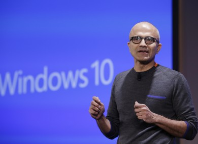 Microsoft CEO Satya Nadella speaking at the Windows 10 event held last week.