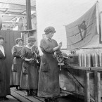 Female workers adjust the nozzles of shells in the National Shell Factory at Parkgate Street, Dublin, during the First World War.
