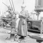 Kathleen Nolan sharpens a tool on a grindstone a the National Shell Factory at Parkgate Street, Dublin, during the First World War.