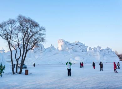 JANUARY 9, 2014: Sun Island Park in winter. Harbin, China.