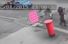 Toddler narrowly escapes being struck by exploding manhole