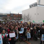 Water protesters who marched to Tallaght Garda station today to protest against the arrests of Water protesters and the water charges.<span class=