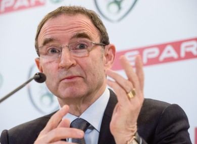 Martin O'Neill during a press conference at the Aviva Stadium where SPAR were announced as the Official Convenience Retail Partner of the FAI.