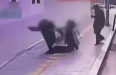Pair swallowed by sinkhole in pavement after getting off bus