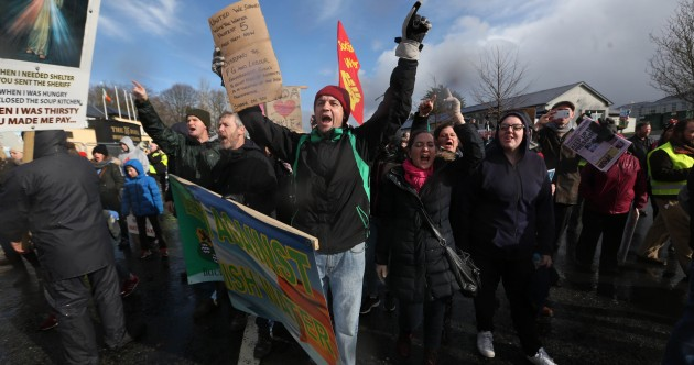Some protesters gathered outside the Fine Gael conference – and a journalist was asked to leave