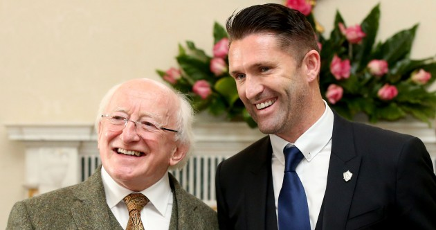 Robbie Keane and the LA Galaxy got suited and booted for a reception with President Higgins today