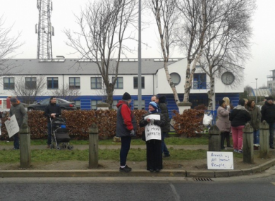 A protest at Tallaght Garda Station yesterday.