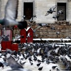 A man selling food for pigeons sits in a cubicle, near Yeni Cami, in Istanbul, Turkey. Turkey's largest city, Istanbul, has been hit by a storm that has dumped up to a 60 centimetres (24 inches) of snow in some areas since Tuesday, wreaking havoc on roads. (AP Photo/Emrah Gurel)<span class=